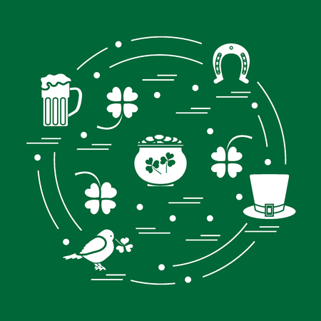 boiler: Cute vector illustration with different symbols for St. Patricks Day arranged in a circle. Design for banner, poster or print.