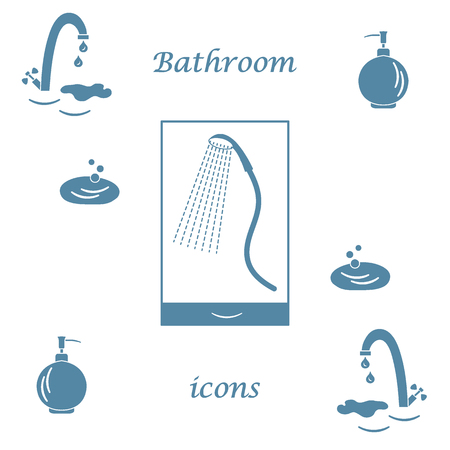 douche: Set of vector illustrations of variety bathroom elements: faucet, liquid soap dispenser, shower. Design for poster or print.