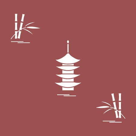 ledge: Stylized icon of the pagoda and bamboo. Travel and leisure. Design for banner, poster or print.