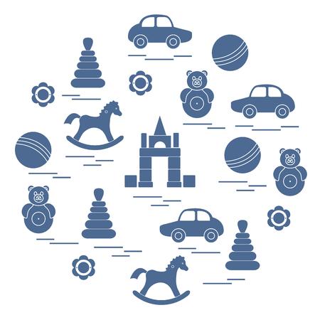 Vector illustration kids elements arranged in a circle: car, pyramid, roly-poly, ball, cubes, rocking horse, rattle. Design element for postcard, banner, flyer, poster or print. Ilustração