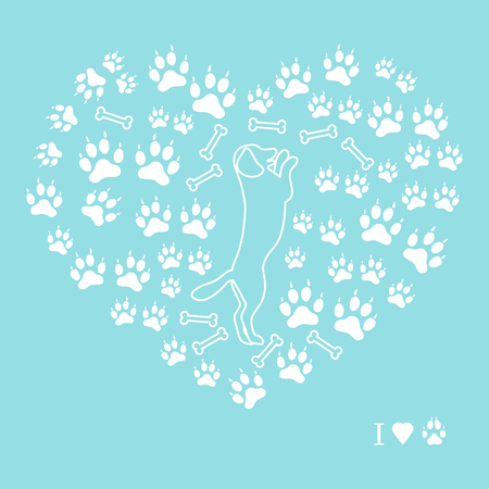 Nice picture of dog standing on its hind legs silhouette on a background of dog tracks and bones in the form of heart on a colored background.