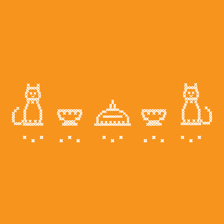 Cute vector illustration cross embroidery of teapot with two cups and two cats. Design for banner, poster or print.