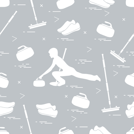 ice slide: Vector pattern of different objects curling sport. Including: shoes, broom, stone and athlete silhouette.