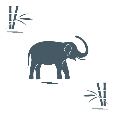 Stylized icon of elephant and bamboo. Design for poster or print. Illustration