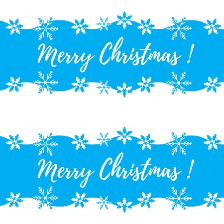 Beautiful picture with stylized waves and snowflakes. Winter illustration with inscription Merry Christmas on a white background.