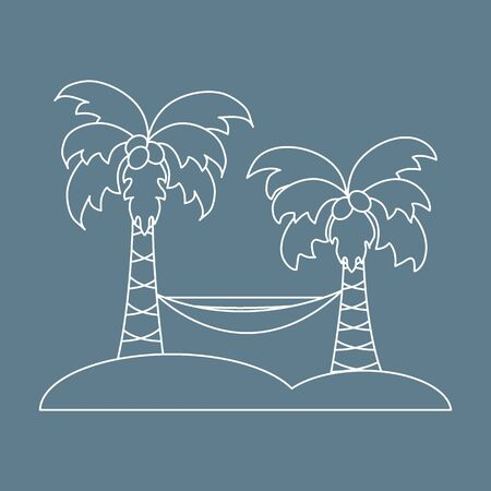 Cute vector illustration with palm trees and hammock. Travel and leisure. Design for banner, poster or print.