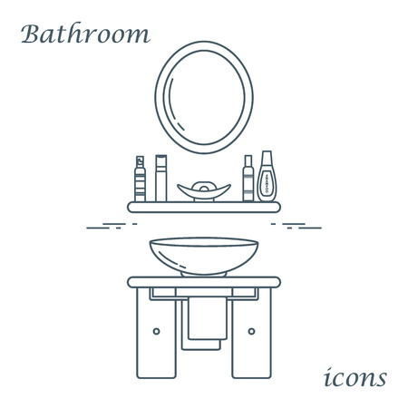 bathroom design: Cute vector illustration with variety bathroom elements: mirror, washbasin, towel, shampoo and other. Design for poster or print. Illustration