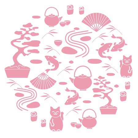 Cute vector illustration with bonsai tree, minimal rock garden, japanese lucky cat Maneki Neko, carp koi and other arranged in a circle. Travel and leisure. Illustration