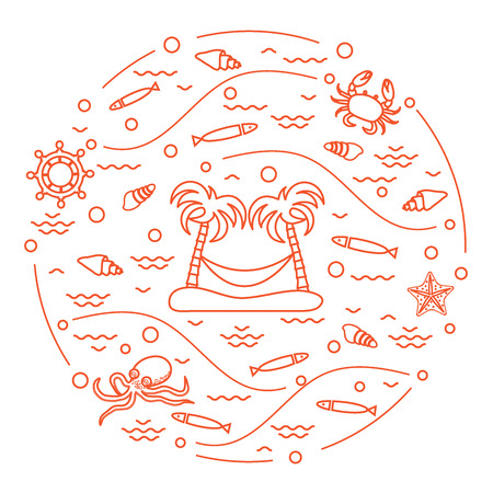 Cute vector illustration with octopus, fish, island with palm trees and a hammock, helm, waves, seashells, starfish, crab arranged in a circle. Design for banner, poster or print. Illustration