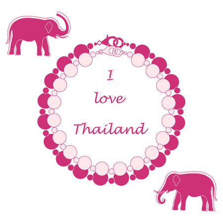 Stylized icon of pearl necklace and elephants. Eastern collection. Design for banner, poster or print.