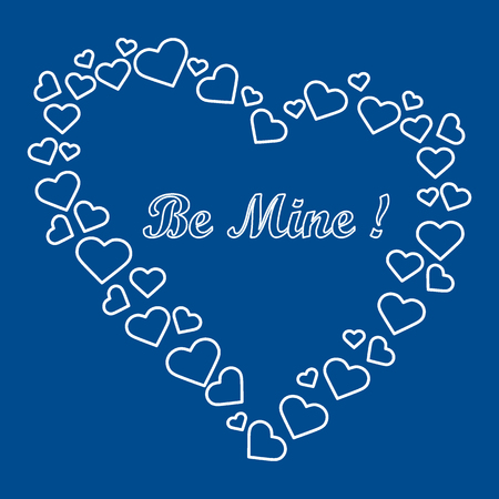 laid: Cute vector illustration: heart composed of many hearts and the words: Be Mine. Design for banner, flyer, poster or print. Greeting card Valentines Day.