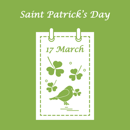 Cute vector illustration: calendar with bird and clover for St. Patricks Day. Design for banner, poster or print.