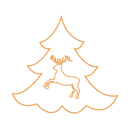 tree logo: Cute illustration on Christmas or New Years theme made in line style. Deer silhouette against the background of the Christmas tree.
