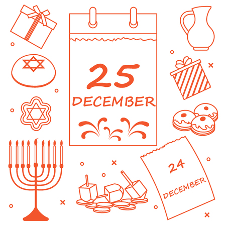 Vector illustration: Jewish holiday Hanukkah: calendar, gifts, dreidel, sivivon, menorah, coins, donuts and other. Design for postcard, banner, flyer, poster or print. Illustration