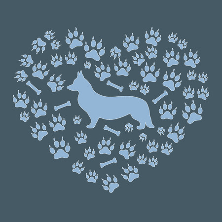 Nice picture of Welsh Corgi Pembroke silhouette on a background of dog tracks and bones in the form of heart on a colored background.