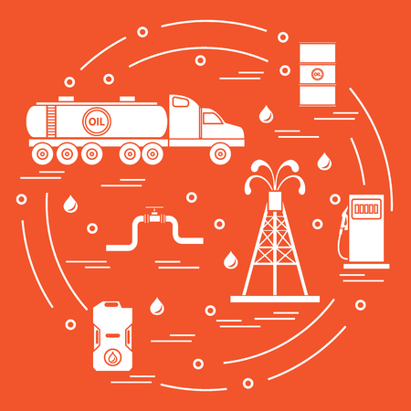 Cute vector illustration of  oil tanker, equipment for oil production, canister of gasoline, barrels with oil, gas station arranged in a circle. Design for poster or print. Illustration