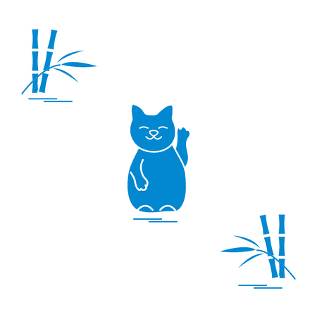 Stylized icon of japanese lucky cat Maneki Neko. Travel and leisure. Design for banner, poster or print.