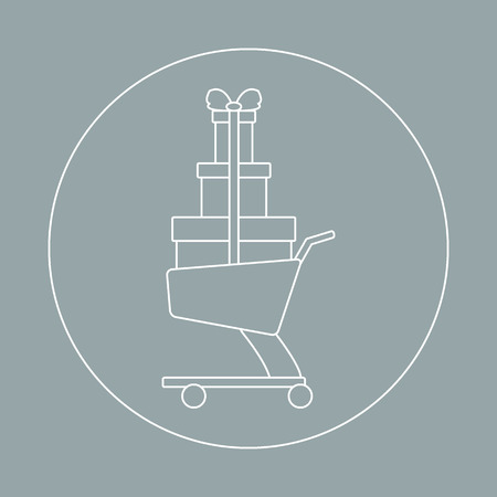 gift basket: Stylized icon of shopping cart with gifts. Design for banner, poster or print. Illustration