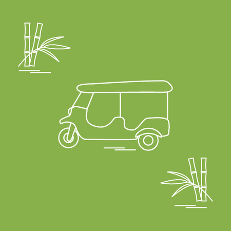 Stylized icon of tuk-tuk and bamboo. Traditional taxi in Thailand, India. Design for banner, poster or print.