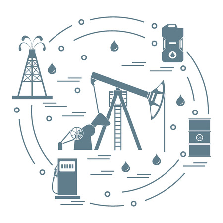 Cute vector illustration of the equipment for oil production, canister of gasoline, barrels with oil, gas station arranged in a circle. Design for poster or print.