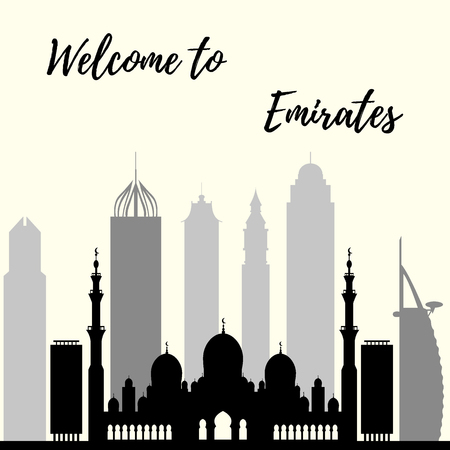 middle: Vector illustration of United Arab Emirates skyscrapers silhouette. Dubai and Abu dhabi buildings. Design for banner, poster or print. Illustration