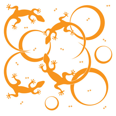 Cute vector illustration of lizards and circles. Design for poster or print. Illustration