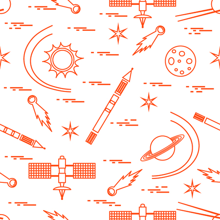 Seamless pattern with variety space exploration elements. Design for banner, poster or print.