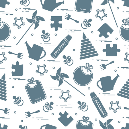 Cute seamless pattern with variety of childrens goods and toys