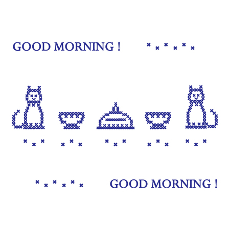 silueta de gato: Cute vector illustration cross embroidery of dish with lid, two cups and two cats. Design for banner, poster or print.