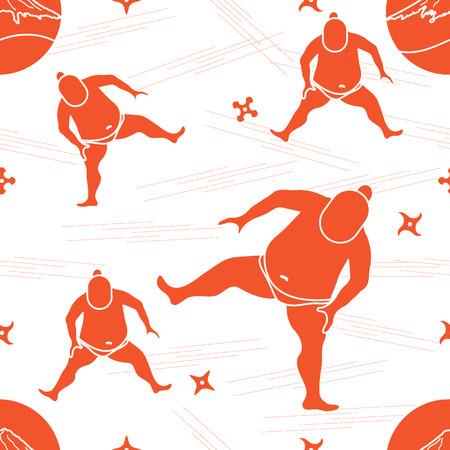 스모 선수, shurikens, 산 후지의 벡터 패턴. 일본 테마입니다. 일러스트