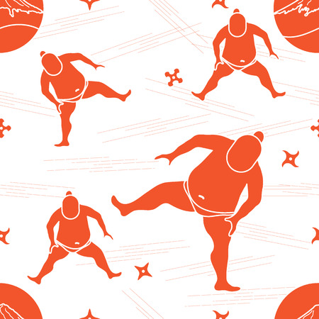 Modèle vectoriel de sumo lutteur, shurikens et montagne Fuji. Thème du Japon. Banque d'images - 83558672