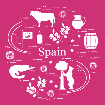 Vector illustration with various symbols of Spain arranged in a circle