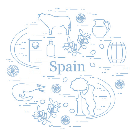 Vector illustration with various symbols of Spain arranged in a circle. Travel and leisure. Design for banner, poster or print. Ilustrace