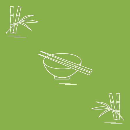 Stylized icon of bowl with chopsticks and bamboo. Asian food restaurant. Design for poster or print. Illustration