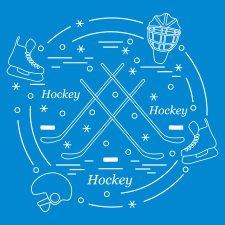 ice: Vector illustration of various subjects for hockey arranged in a circle. Including icons of helmet, skates, goalkeeper mask, stick, puck. Winter elements made in line style.
