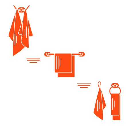 laundry care symbol: Set of  towels hanging on different holders. Design for poster or print.