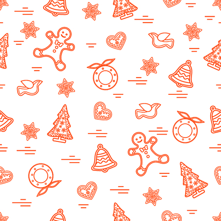 Cute vector pattern of different new year and christmas symbols. Winter theme. Design for postcard, banner, flyer, poster or print.