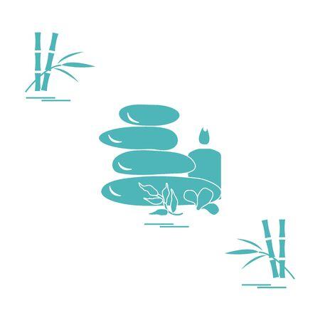 Icono estilizado de piedras de masaje para procedimientos de spa, hojas, flores, velas y bambú. Spa y belleza. Diseñe para la bandera, el cartel o la impresión. Foto de archivo - 83947876