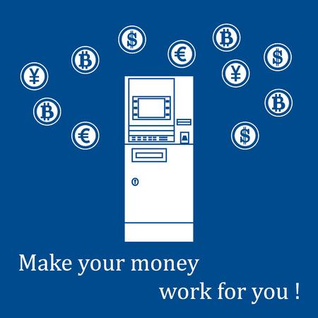 Icono estilizado de una máquina de cajero automático de color o ATM y diferentes tipos de moneda y bitcoins. Diseño de la bandera, cartel o impresión. Foto de archivo - 83947907