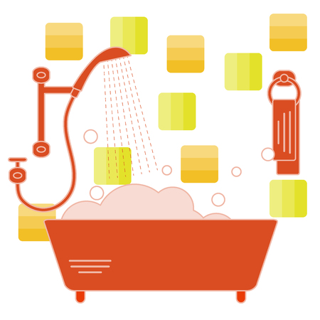 retractable: Cute vector illustration of variety bathroom elements: shower, bath with foam, soap bubbles,  towel hanging on holders, bathroom tiles. Design for poster or print.