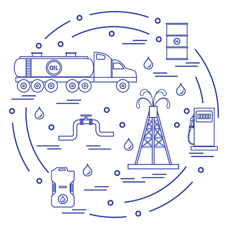 drill: Cute vector illustration of  oil tanker, equipment for oil production, canister of gasoline, barrels with oil, gas station arranged in a circle. Design for poster or print. Illustration