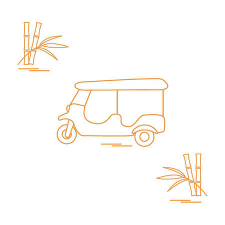 rickshaw: Stylized icon of tuk-tuk and bamboo. Traditional taxi in Thailand, India. Design for banner, poster or print.