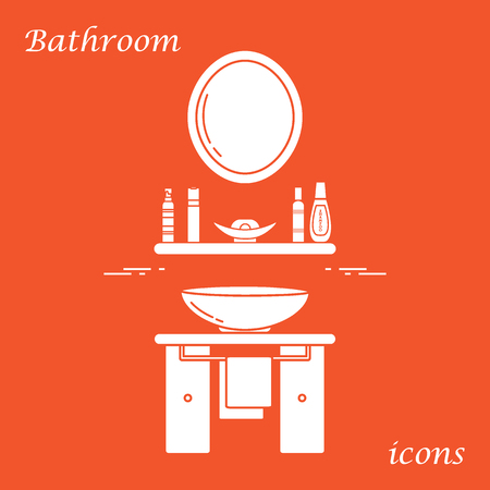 Cute vector illustration with variety bathroom elements: mirror, washbasin, towel, shampoo and other. Design for poster or print. Illustration