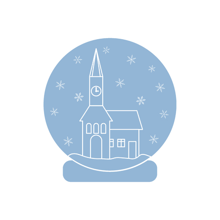 Vector illustration of town hall with clock and the house inside glass ball with snow. Design element for postcard, invitation, banner or flyer made in modern line style vector.