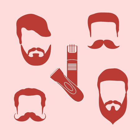 barbershop: Cute vector illustration of men hairstyles, beards, mustaches, trimmers. Male haircuts. Barbershop symbol.
