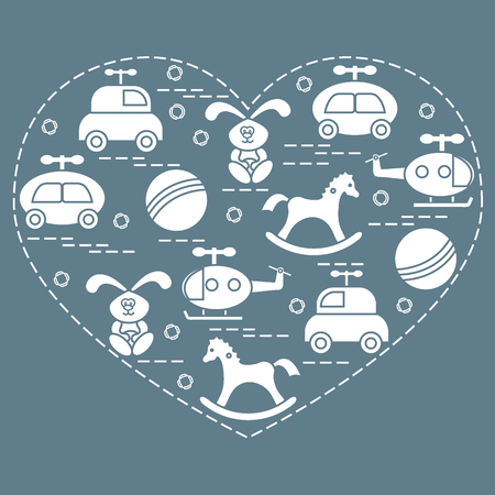 car: Cute vector illustration kids elements arranged in a heart shape: cars, rabbits, balls, helicopters, rocking horses. Design element for postcard, banner, poster or print.