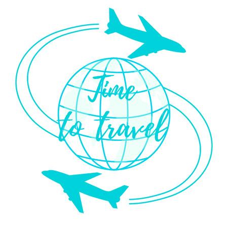 Nette Vektor-Illustration von Flugzeugen fliegen rund um den Globus. Design für Poster oder Druck. Standard-Bild - 84357350