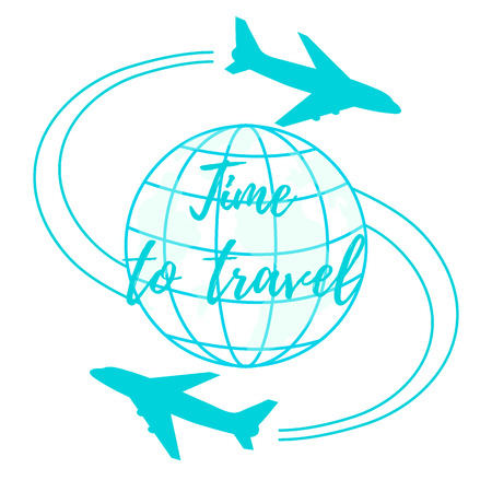 Cute vector illustration of aircraft flying around the globe. Design for poster or print.