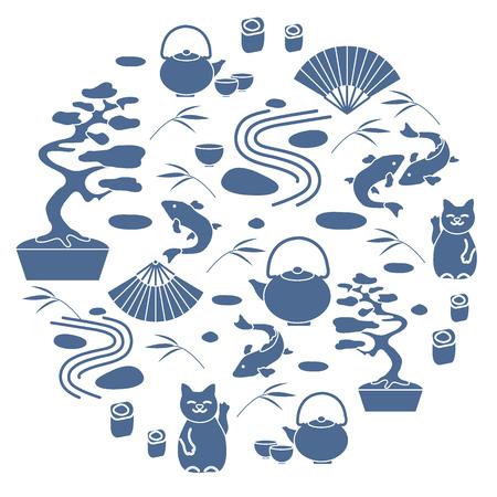 Ilustración vectorial lindo con árbol de bonsai, jardín de roca mínimo, gato afortunado japonés Maneki Neko, koi de carpa y otros dispuestos en un círculo. Viajes y ocio.
