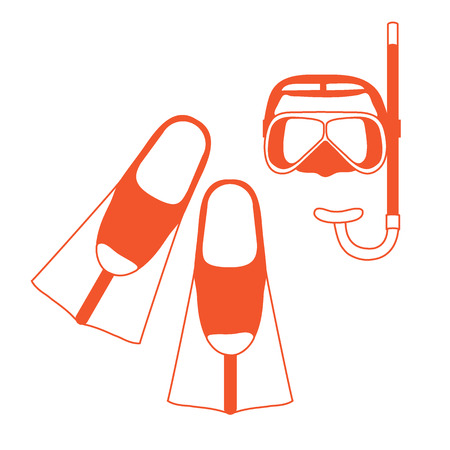 Stylized icon of a colored mask, tube and flippers for a scuba diving. Sports and recreation theme. Design for banner, poster or print.
